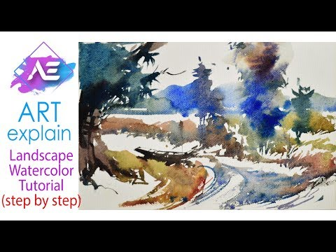 Quick Watercolor  Landscape Painting Tutorial | How to paint a watercolor landscape | Art Explain