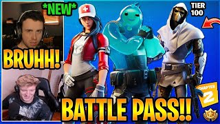 Streamers React to The NEW Fortnite Chapter 2 Battle Pass Skins Tier 100