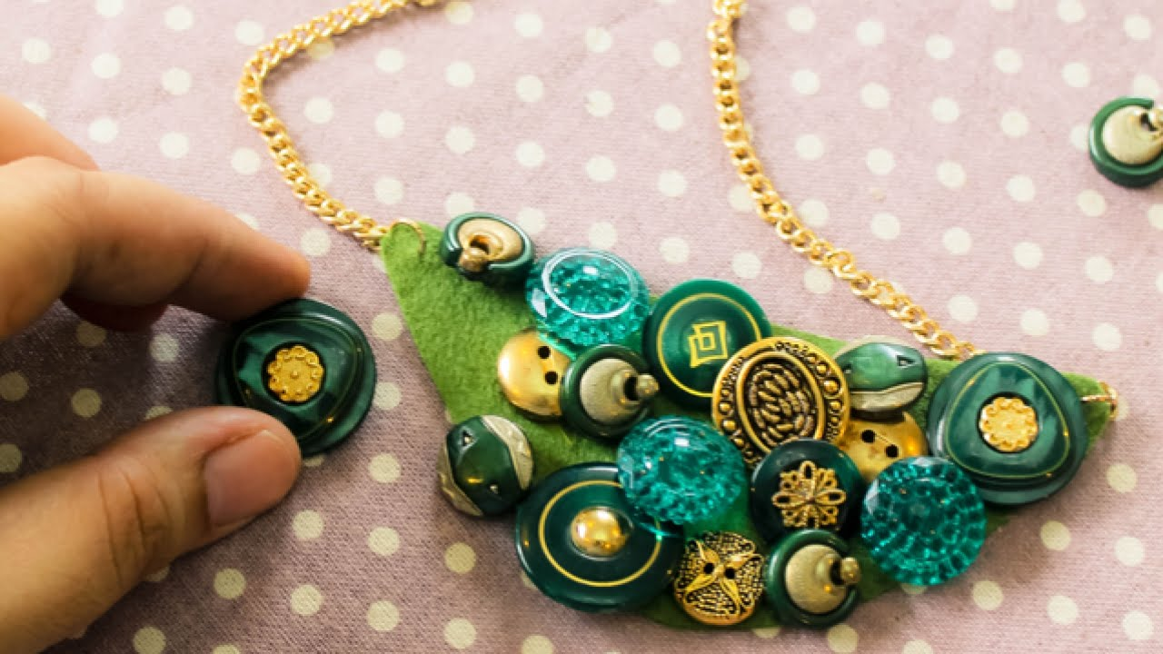 How To Make a Trendy Button Bib Necklace - DIY Style Tutorial ...
