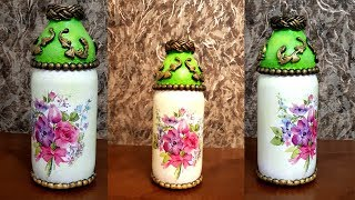 How to decor used bottle / Bottle decoupage/Bottle decoration