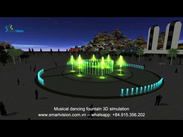 3D dancing fountain simulation