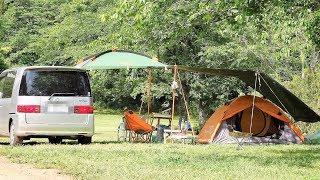 カーサイドタープに少し手を加え、成田ゆめ牧場オートキャンプ場で一泊...