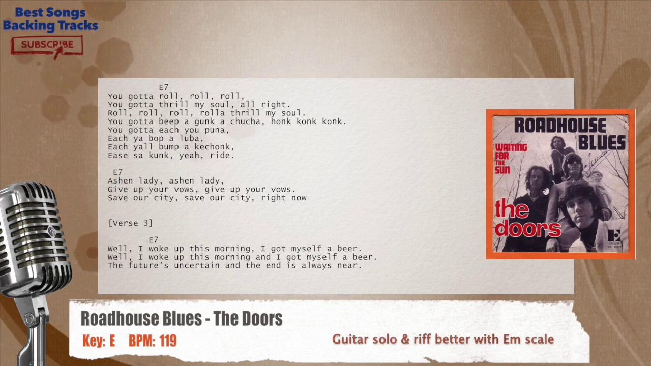 Roadhouse Blues The Doors Vocal Backing Track With Chords And