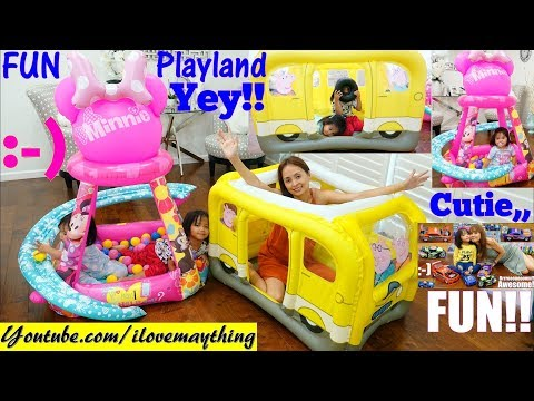 Peppa Pig School Bus Playhouse! Inflatable Playhouse Disney Minne Mouse and Toy Cars for Kids