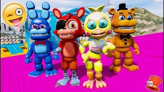 FNAF WORLD ANIMATRONICS STUNT PLAYGROUND! (GTA 5 Mods For Kids FNAF RedHatter)