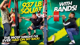 937 LB SQUAT WITH BANDS! MOST WEIGHT I EVER HAD ON MY BACK!