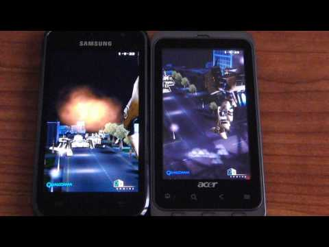 Acer Stream benchmark and screen test vs Samsung Galaxy S benchmark