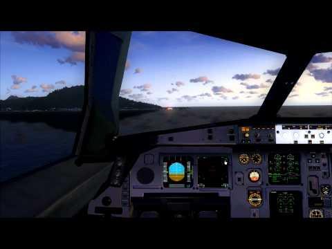 Cockpit A330-300 landing at Moorea (Windy)