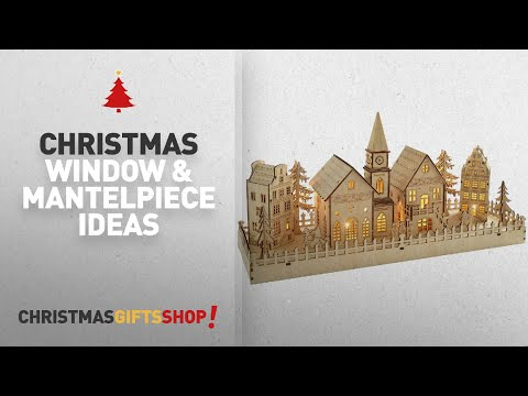 Top 10 Christmas Window & Mantelpiece Ideas: WeRChristmas Pre-Lit Wooden House Village Scene, 45 cm