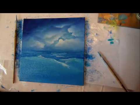 Рисуем маслом  Миниатюра Море Картина