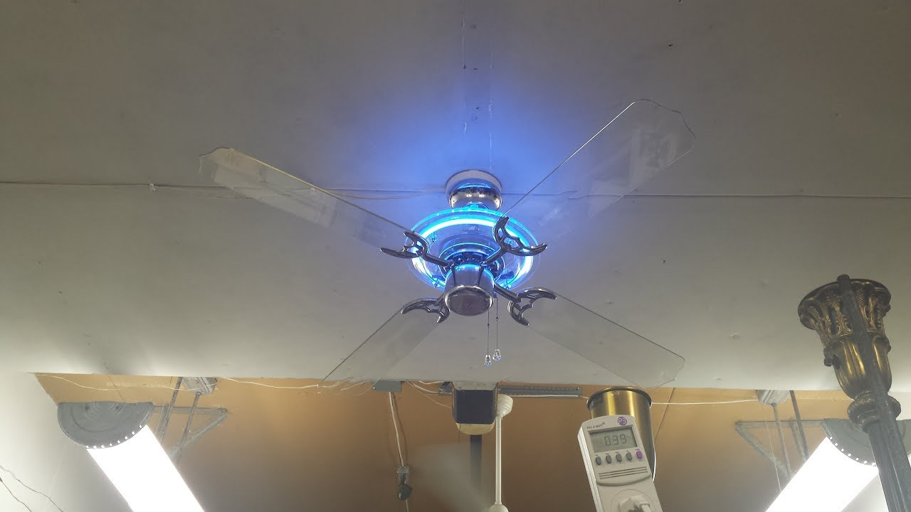 "King Of Fans ""Neon Illusions"" Ceiling Fan with blue neon ..."