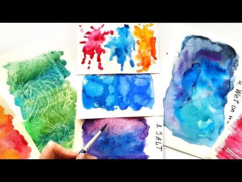 top-10-watercolor-techniques-ideas---painting-tutorial-for-beginners-\-diy-textures-for-lettering