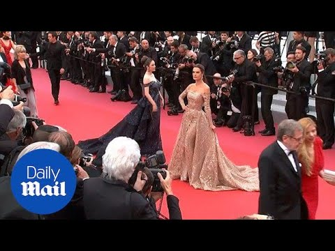 Models Alessandra Ambrosio and Miriam Odemba on Cannes red carpet - Daily Mail