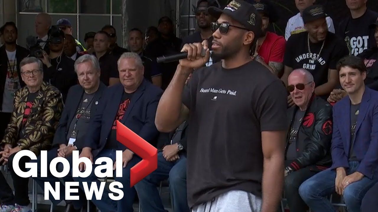 Kawhi Leonard mocks his own laugh, brings down the house at Raptors victory rally