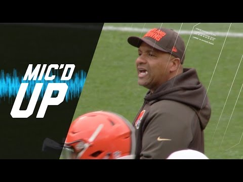 Hue Jackson Wired for Sound at Browns Practice | NFL