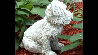 Westie Outdoor Statue, Dover White, Hand Finished; Outdoor Garden Decor Statues, Dog Figurines