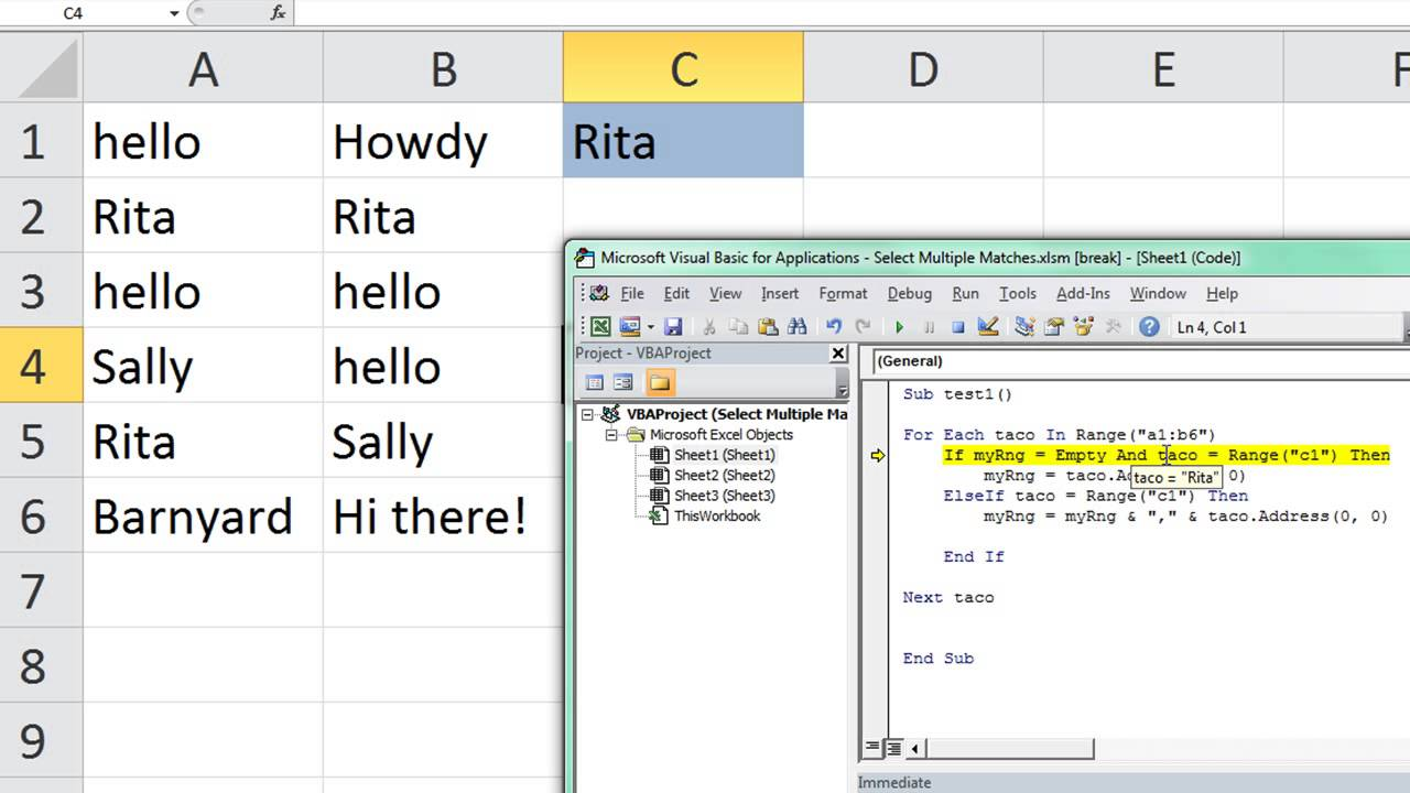 Select Multiple Cells that Match Criteria ExcelVbaIsFun