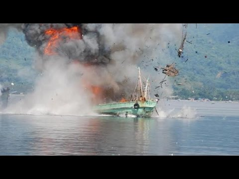 Indonesian navy blows up illegal foreign fishing vessels in spectacular fashion