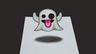 Como desenhar Emoticons Fantasminha 3D - passo a passo