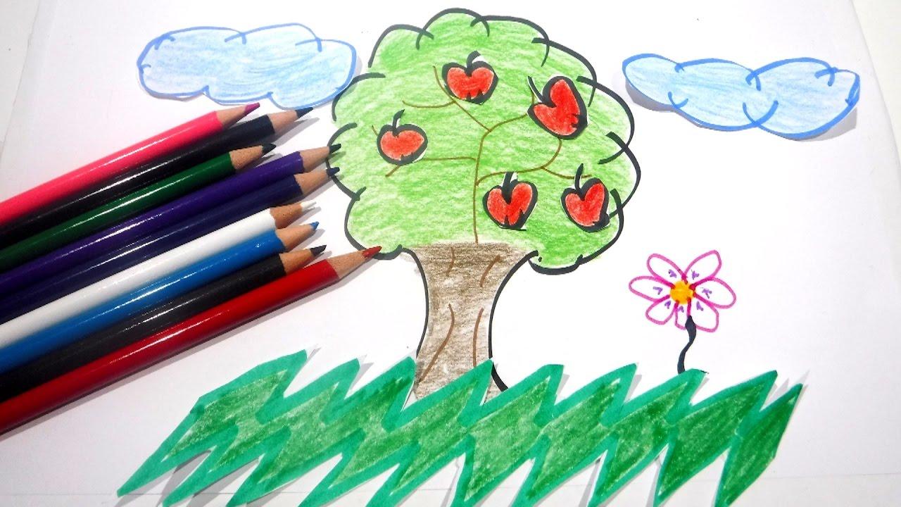 Como hacer DIBUJO árbol paisaje y COLOREAR - Video para NIÑOS - YouTube