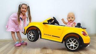 Большой сюрприз Машинка для куклы Насти / Юля собирает новый электромобиль
