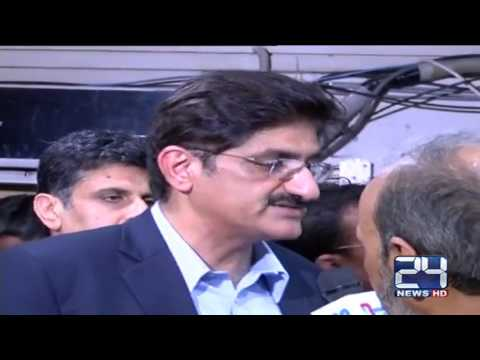 24 Report : Karachi , CM Sindh and DG ranger visit ARY office to condemn attack on Media