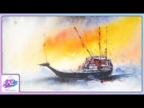 Watercolor Painting Landscape boat in ocean | How to paint a watercolor landscape | Art Explain