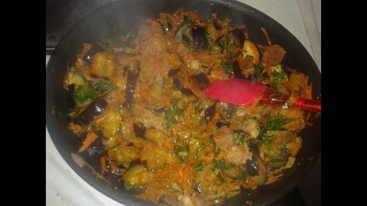 рагу из баклажанов с мясом и картошкой рецепт с фото