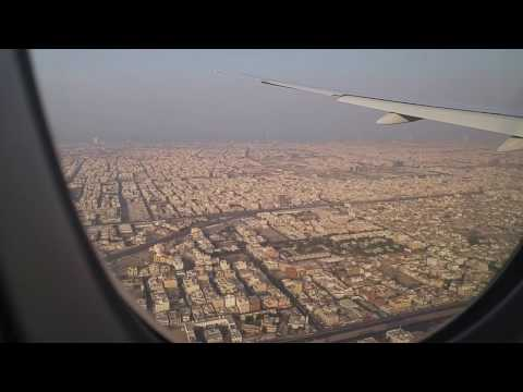Landing in Jeddah over Red sea, port of Jeddah