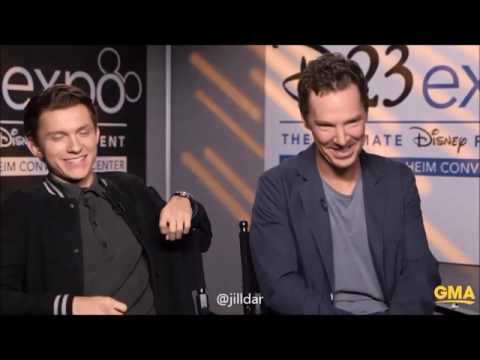 a whole interview of Benedict Cumberbatch Tom Holland at GMA D23Expo2017
