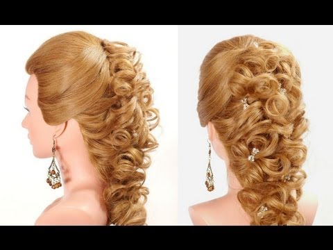 Wedding prom hairstyle for long hair. Bridal hairstyles.