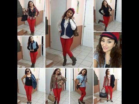 Mujer en pantalon rojo ajustado - 2 1