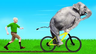 STEALING JELLY'S BIKE As An ELEPHANT! (Zookeeper Simulator)
