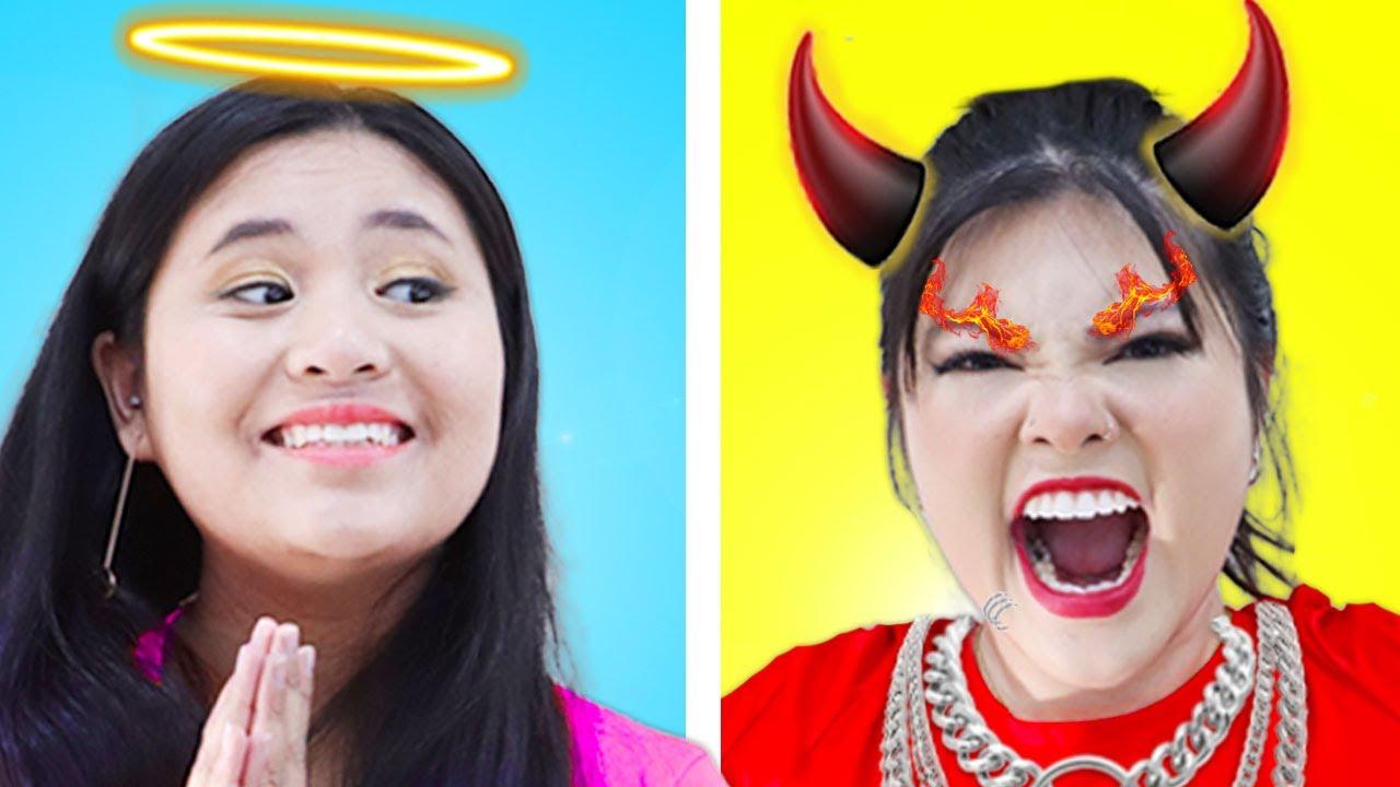 BAD GIRL VS GOOD GIRL   8 FUNNY ANGEL VS DEMON GIRL & CRAZY SITUATIONS BY CRAFTY HACKS