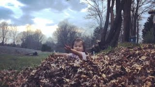 Toddler jumping in a pile of leaves 🍂