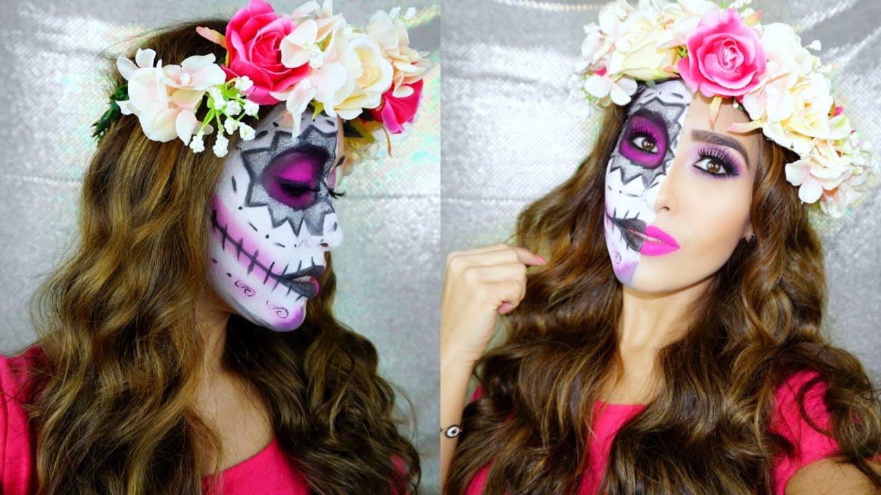 Maquillaje De Catrina Facil Para Halloween Collab Youtube