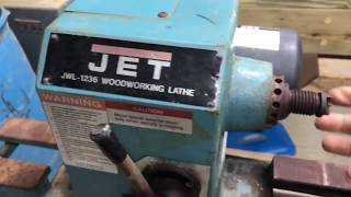 Jet Wood Lathe JWL-1236 clean up tune up.