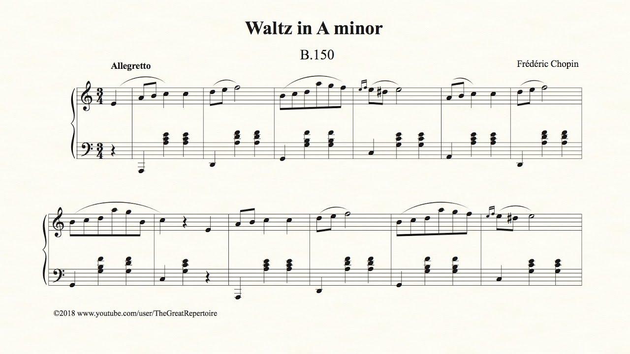 Chopin Waltz In A Minor B 150 Op Posth
