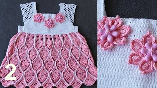 """Детское ажурное платье """"АНАНАСЫ"""" крючком. Часть 2. Child fishnet dress."""