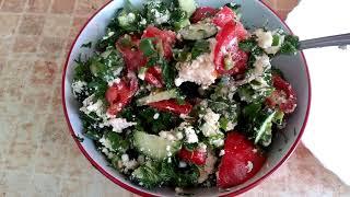 Лёгкий/ овощной салат / с творогом.