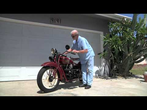 Motorcycle Kick Start Demonstration: 1929 Henderson KJ