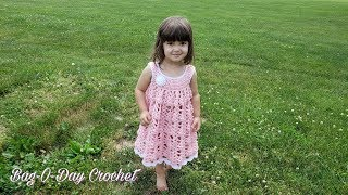 HOW TO CROCHET A BABY DRESS | ROUND THE ROSIE | BAGODAY CROCHET TUTORIAL #485
