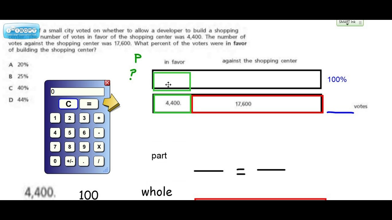 hight resolution of using a tape diagram to find percents
