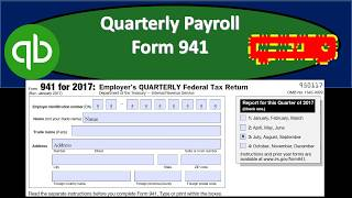 Quarterly Payroll Form 941 & Payroll Report Forms From QuickBooks