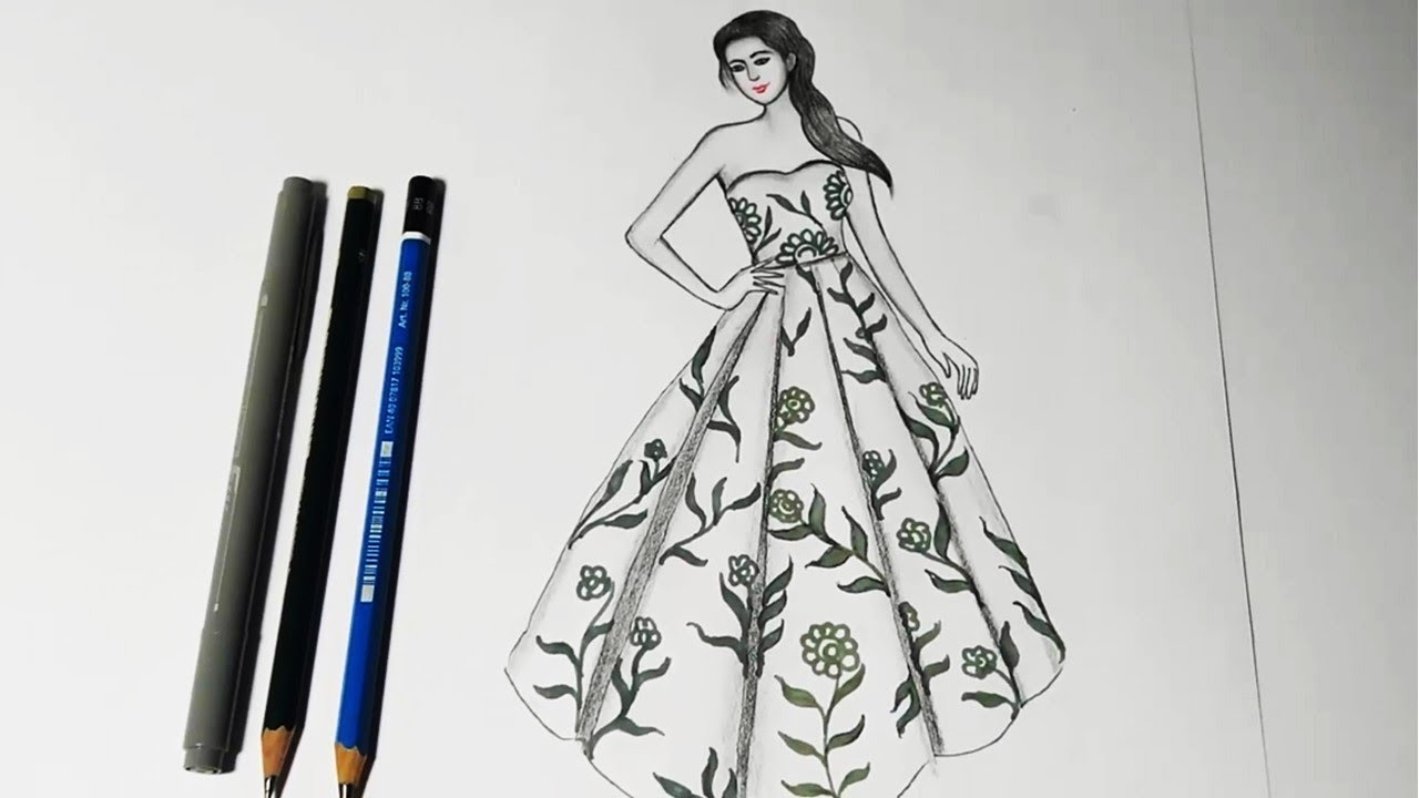 How to draw floral dress | Simple drawings for beginners ...