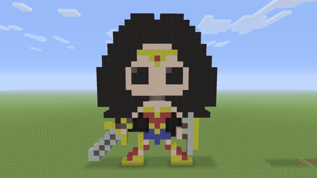 Minecraft Pixel Art Wonder Woman From Batman Vs Superman Dawn Of Justice