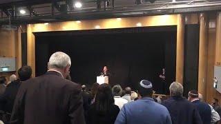 דקת דומייה בית שמואל ירושלים תומכים אמריקאים ישראל איפא״ק עומדים זכר סא״ל מ׳ הרוג עזה הסלמה
