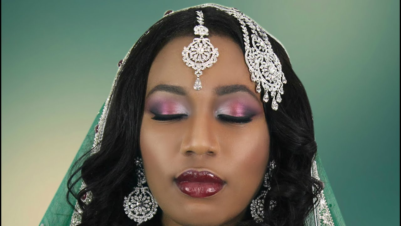 Burgundy & Silver Asian Bridal Makeup Tutorial for Indian ... - photo#32