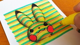 How to Draw 3D Pikachu (Pokémon) Coloring Pages | Learning Colouring Videos for Kids