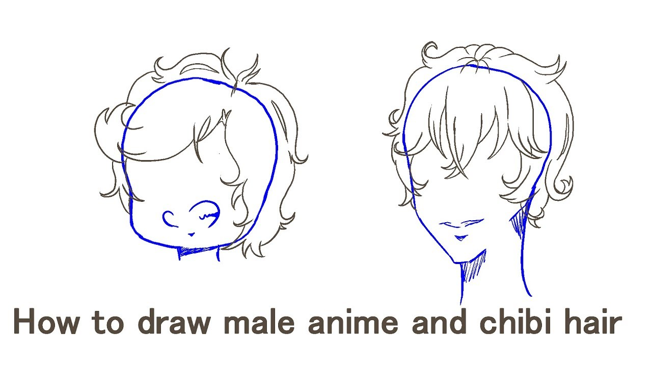 how to draw male anime and chibi hair youtube